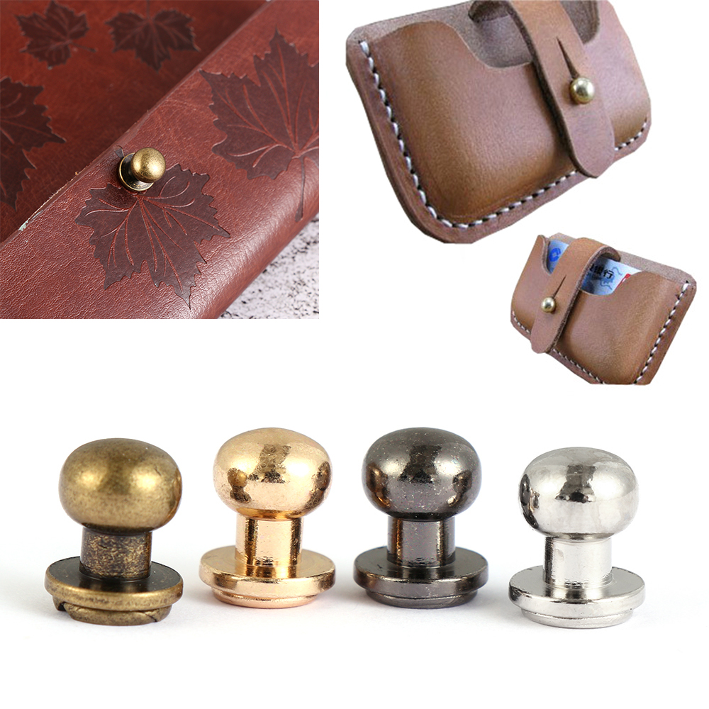 Solid Nail Bolt Strap Rivets Screw DIY Leather Craft Brass Nail Cloth Button