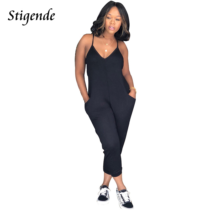 Stigende PLUS SIZE Sexy Spaghetti Strap Jumpsuit Women Casual Solid Sleeveless Jumpsuit Romper Summer V-Neck Bodycon Jumpsuit