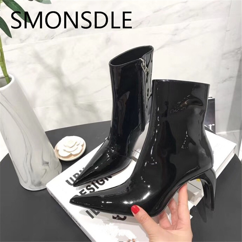 2018 New Fashion Spring Autumn Genuine Leather Women Ankle Boots Pointed Toe Strange Heels Women Motorcycle Boots Shoes Woman