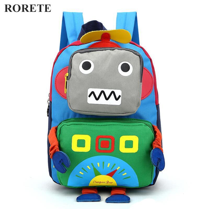 999763c91f14 BAIJIAWEI Cartoon Cute Robot Children Backpack Lovely School Bag  kindergarten Baby Canvas Backpack Cool Boys Small Backpack