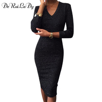DeRuiLaDy 2017 Women Autumn Winter Long Sleeve Dress Sexy V Neck Black Striped Bodycon Pencil Dresses