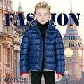 Meninos Parkas Inverno 2015 Nova Moda Sólida Zipper Casaco Quente para 4-12 Anos Crianças Crianças Com Capuz Snowsuit Casaco