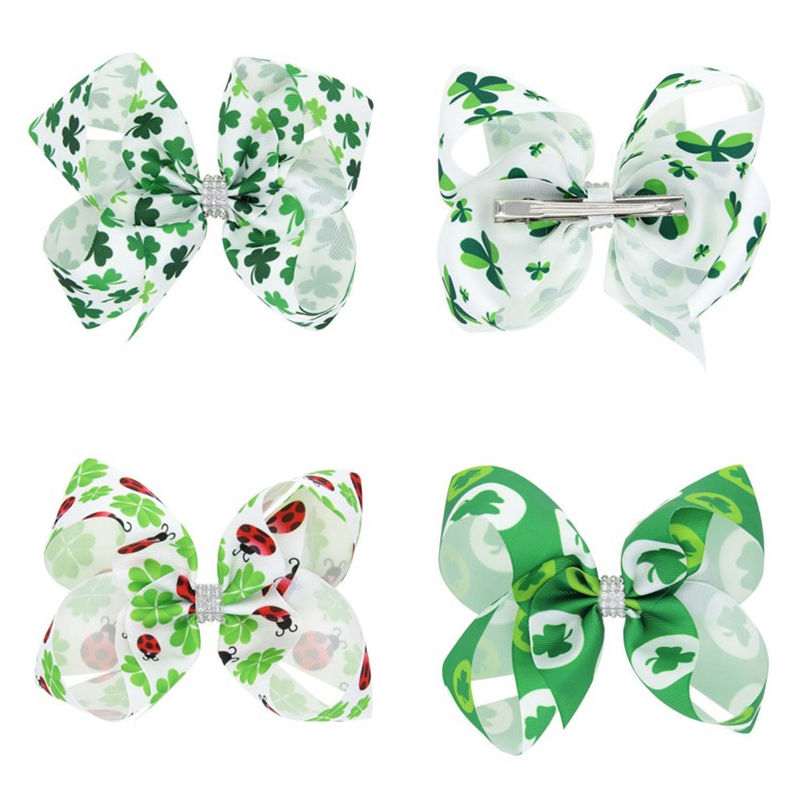 Lucky Day Big Bows St Patricks Day Hair Bows Children Holiday Hair Clips Girls Hair Accessories Little girls Hairbow BB007D