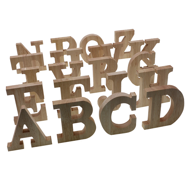 RUNBAZEF Decor Color Wooden Letter 26 Wood English Alphabet Letters Home Wedding Party Tools Decoration Number DIY Handcrafts 3