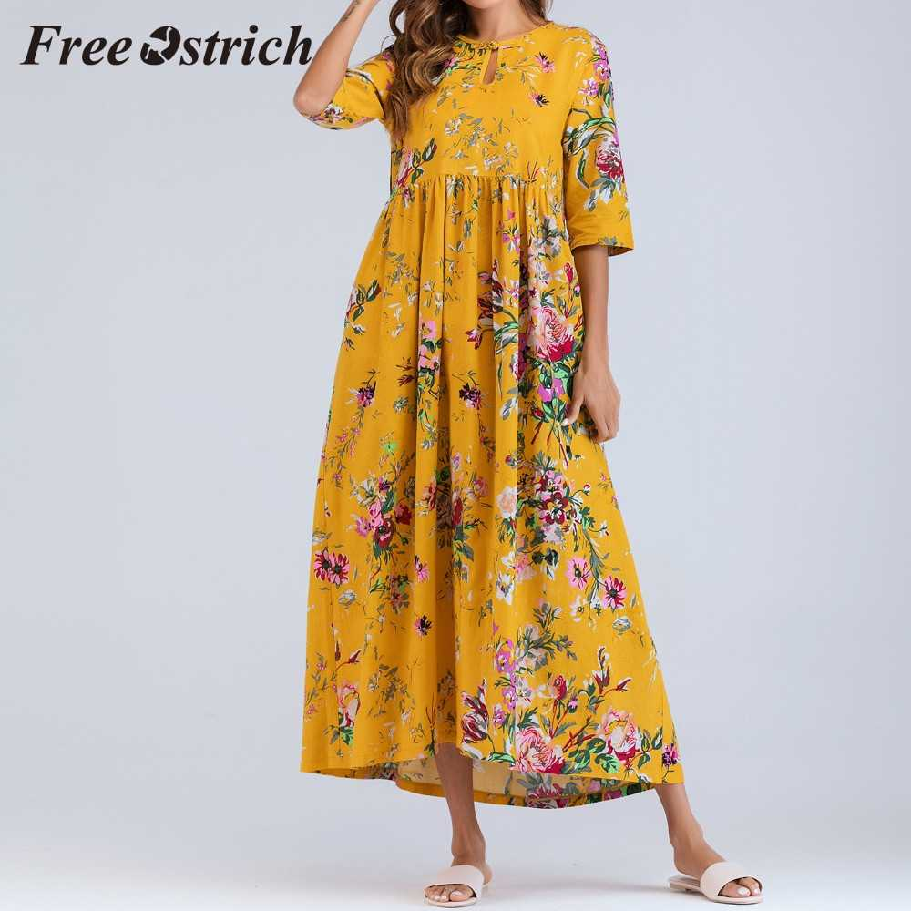 Free Ostrich Hot Sales Women Half Sleeve Ruched Casual Thin Floral Cotton Loose Bohe Long Dress Kaftan Yellow Fresh Summer Dress
