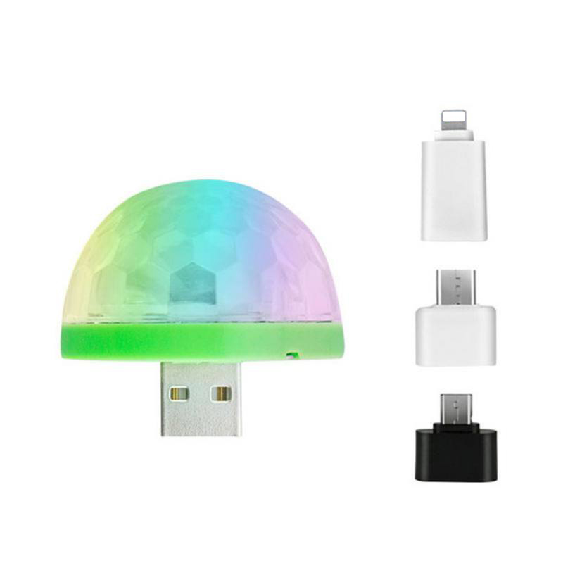 4W USB Laser Light Mini RGB LED Disco Ball Shape Stage Effect Convenient Party Type C Micro USB Adapter For IPhone X 7 Huawei
