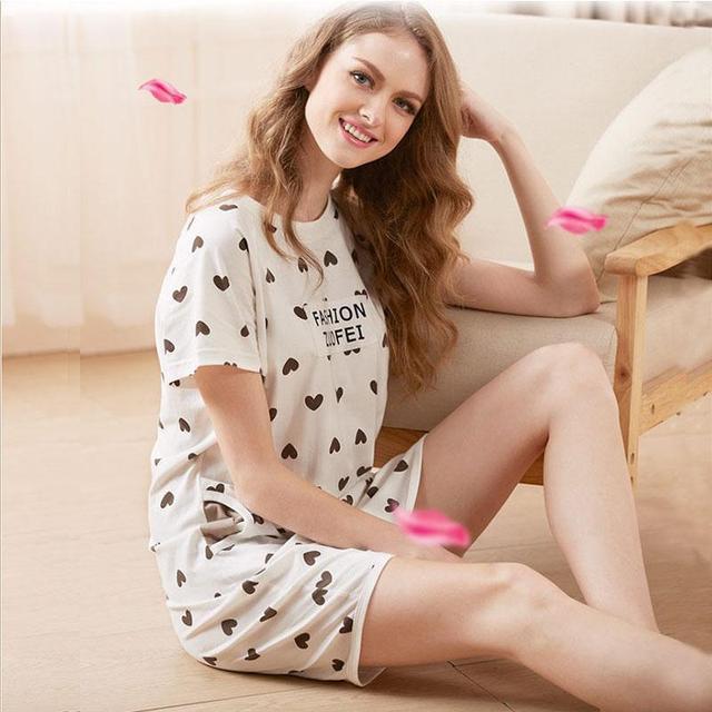 Ladies Sleepwear Dress 100% Cotton Round Neck Heart Printed Women Nightgowns Clothes Summer Autumn