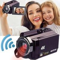 Новый 4 К видеокамера Камера видеокамер Ultra HD цифровой Камера s и видео Регистраторы с Wi Fi/инфракрасный сенсорный широкоугольный объектив