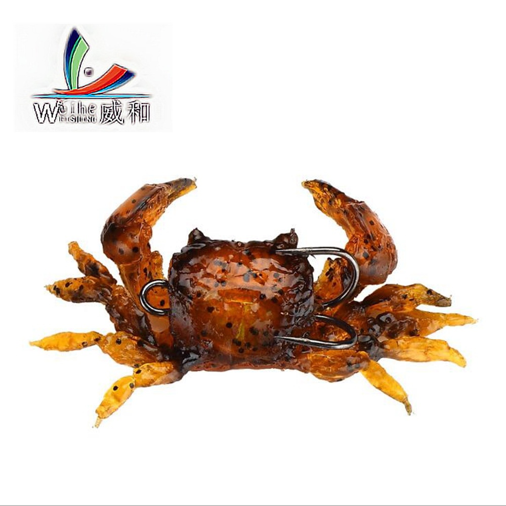 1Pcs Artificial Crab Lure Bait 3D Simulation Multicolour Soft Fish Bait With Hook Fishing Lures For Winter Fishing 50pcs new wifreo soft lure loader locker connector fishing worm hook bait accessories for bass fishing wholesale