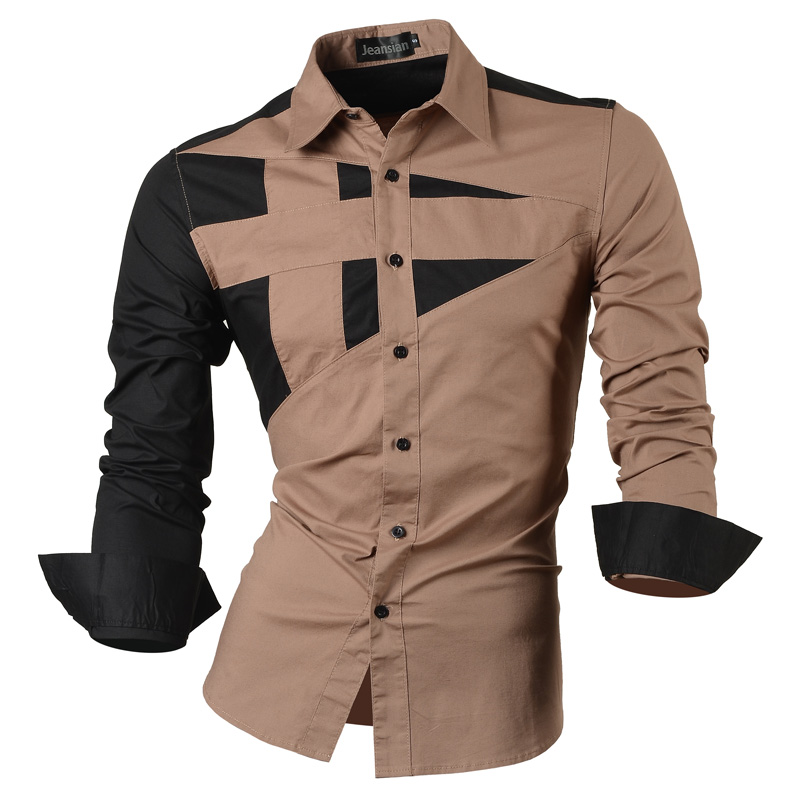 2018 Spring Autumn Features Shirts Men Casual Jeans Shirt New Arrival Long Sleeve Casual Slim Fit Male Shirts 8397