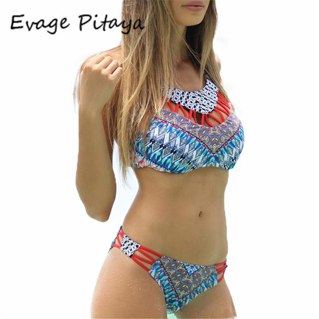 From Neck Strappy High Print Out Swimsuit Cut Biquines Swim In 2017 Ladies Suit Bikini Thong Sale Swimwear For Set Cheap White Bikinis oBxCerd