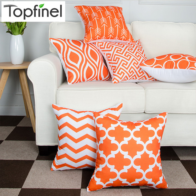 Topfinel Geometric Pattern Design Decorative Throw Pillow Cases Orange  Cushion Covers For Sofa Car Couch Armchair