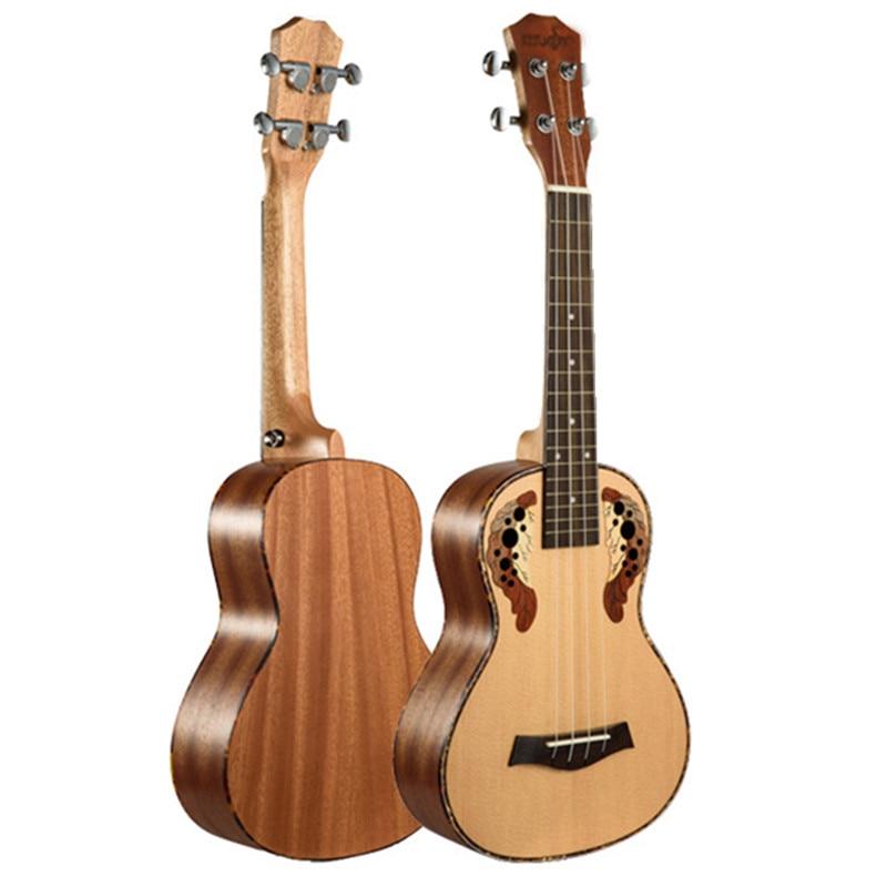 23 Inch Ukulele Concert Hawaiian Guitar Ingman Spruce Panel Grape Hole Electric Ukelele With Pickup EQ Musical Instruments