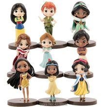 9pcs Peter Pan Tiger Lily Mulan Pocahontas PVC Action Figures Aladdin Wendy Darling Figurines Dolls Kids Toys for Girls Children цена