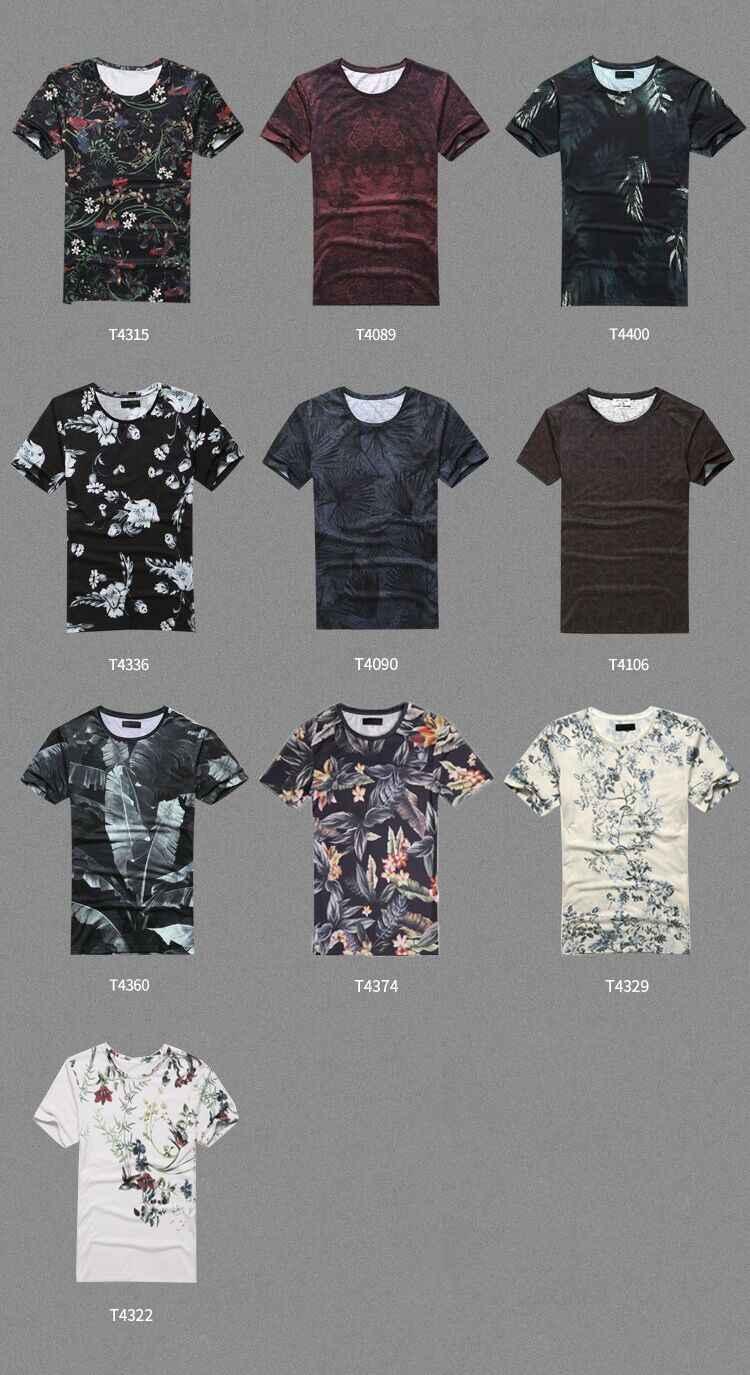 2018 夏新メンズ服スリムフィット半袖 tシャツコットンラウンドネックメンズ印刷 tシャツブランド T4360
