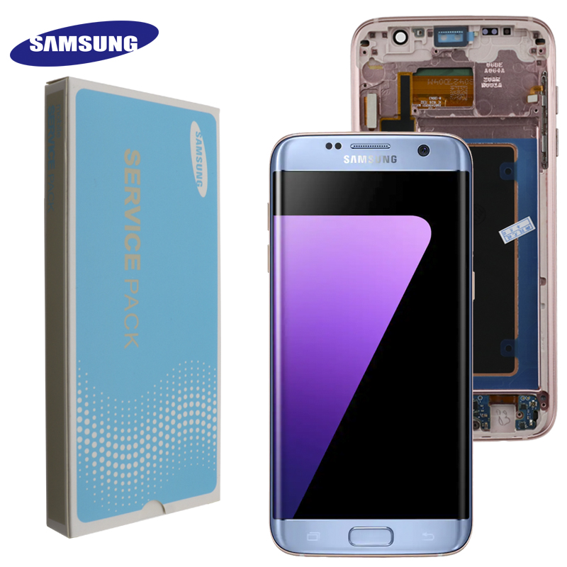 ORIGINAL 5 5 SUPER AMOLED display with frame for SAMSUNG Galaxy s7 edge G935 G935F Touch