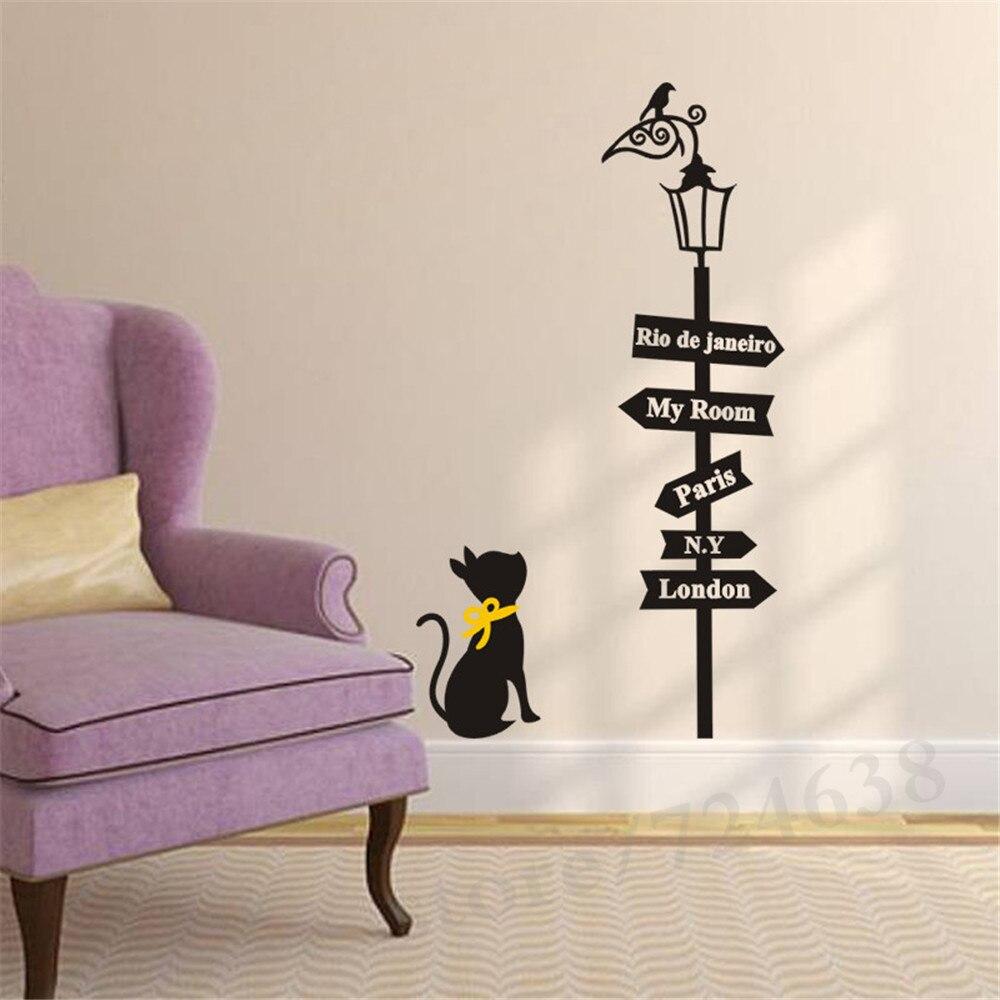 Creative Way Sign Cute Cat Bird Light Quote Paris London Home Living ...