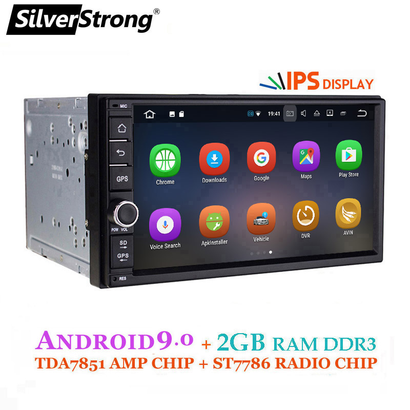 SilverStrong Android9.0 voiture DVD 2Din universel DSP android IPS panneau OctaCore voiture GPS 7 pouces voiture stéréo Radio