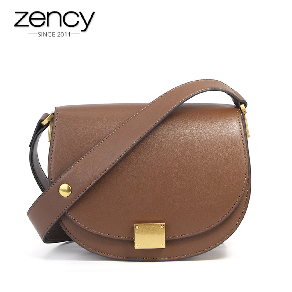 Zency New Fashion Handbag 100 Genuine Leather Retro Women Messenger Bag Horseshoe Buckle Simple Semi circle
