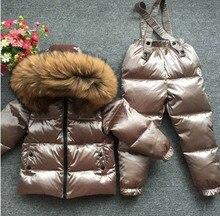 Комплекты для детей, сверхтолстый пуховик для мальчиков и девочек, лыжный костюм с воротником из шерсти животных, топ и брюки