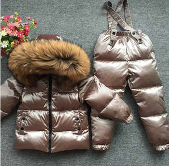 Children's Sets boy girl child's baby extra thick down jacket is full of animal hair collar ski suit top and trousers - DISCOUNT ITEM  33% OFF All Category