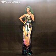 Женское сексуальное сценическое длинное платье без рукавов с блестками, вечерние платья для ночного клуба, одежда для танцовщицы, одежда для сцены, костюм