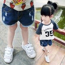 Шорты Девушки 2016 Детей Летние Шорты Девушки рваные джинсы шорты для детей 1234 лет ребенка летом Шорты