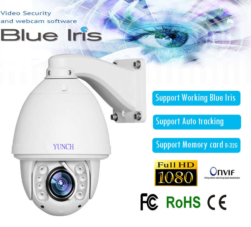 Hot sell HD 1080P 2MP 20X zoom 150M IR distance auto tracking PTZ IP Camera support