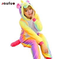 Kigurumi Adult Rainbow Unicorn Onesie Hoodie Cartoon Pajamas For Women Unisex Couple Winter Animal Pyjama Unicornio