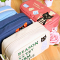 1pcs Women Portable cartoon black cat Multifunction Beauty canvas Zipper Travel Cosmetic Bag Makeup Case Pouch Pen Purse bags