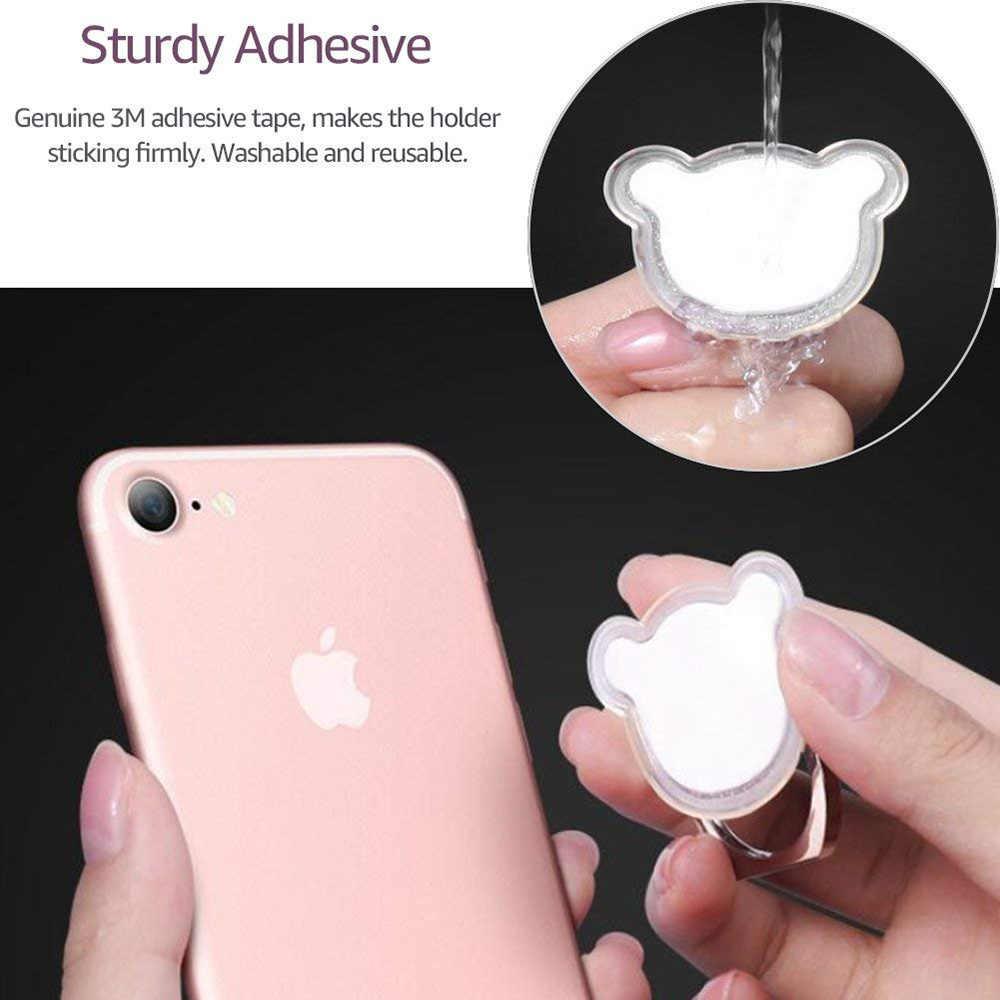 Ascromy Mobiele Telefoon Ring Houder Glitter Schattige Beer Bling Vinger Ring Stand Kickstand Voor Iphone Xs X 8 Samsung Xiaomi accessoires
