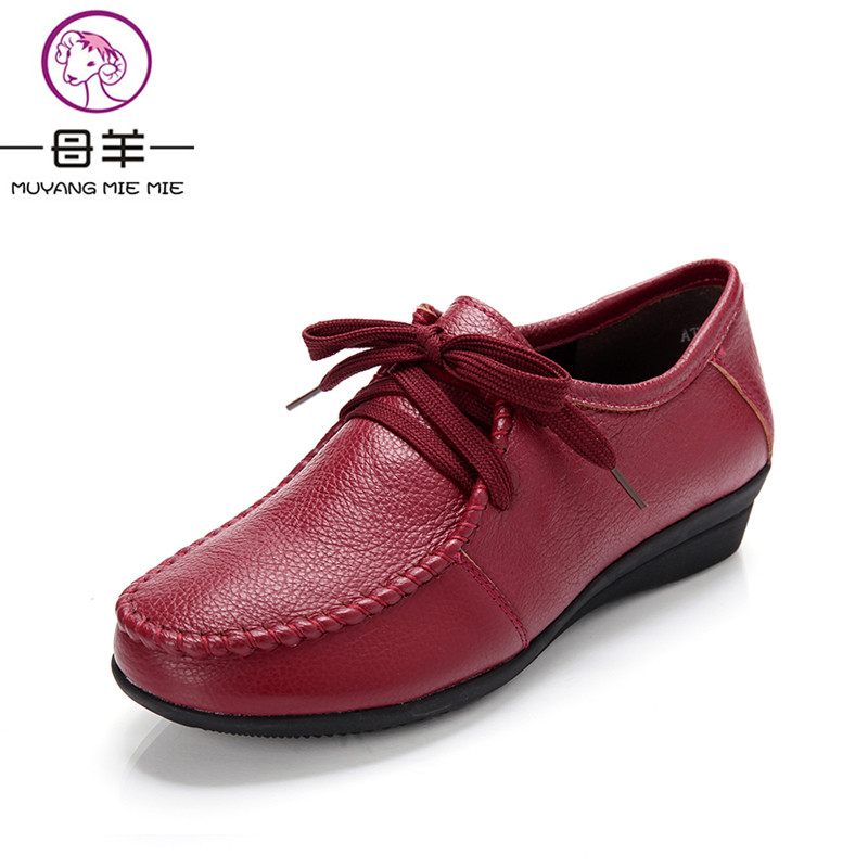 MUYANG MIE MIE Plus size 34 42 women genuine leather flat shoes woman Loafers fashion female