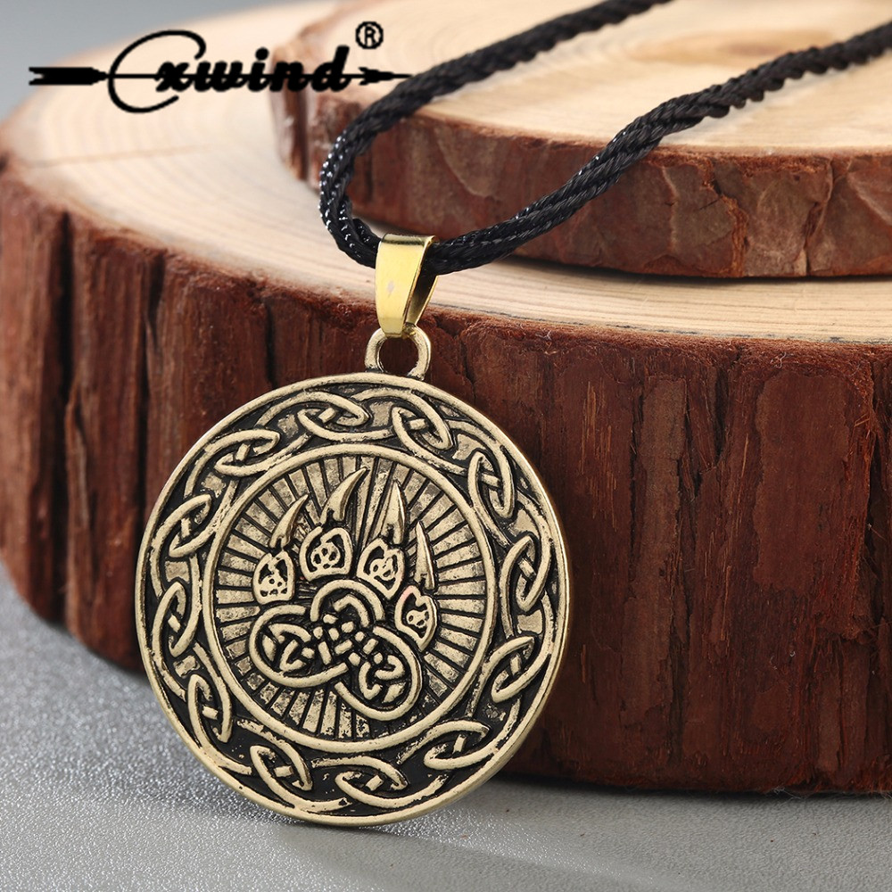 Cxwind Viking Impress of Veles Knot Pendant Necklace Animal Infinity Bear Cat Paw Necklaces Pendants Viking Pagan Jewelry