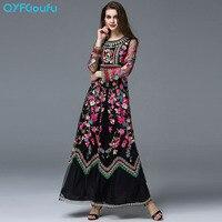 QYFCIOUFU באיכות גבוהה של נשים שמלות מקסי שרוול ארוך מסלול עיצוב ורדים שחורים פרחוני טול שמלה רקומה