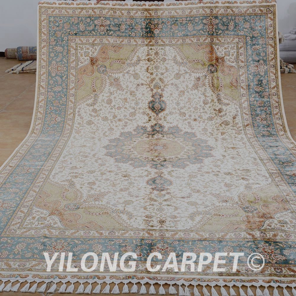Yilong 8u0027x11.7u0027 Persian Oriental Rug Large Antique Beige Turkish Handmade  Carpet