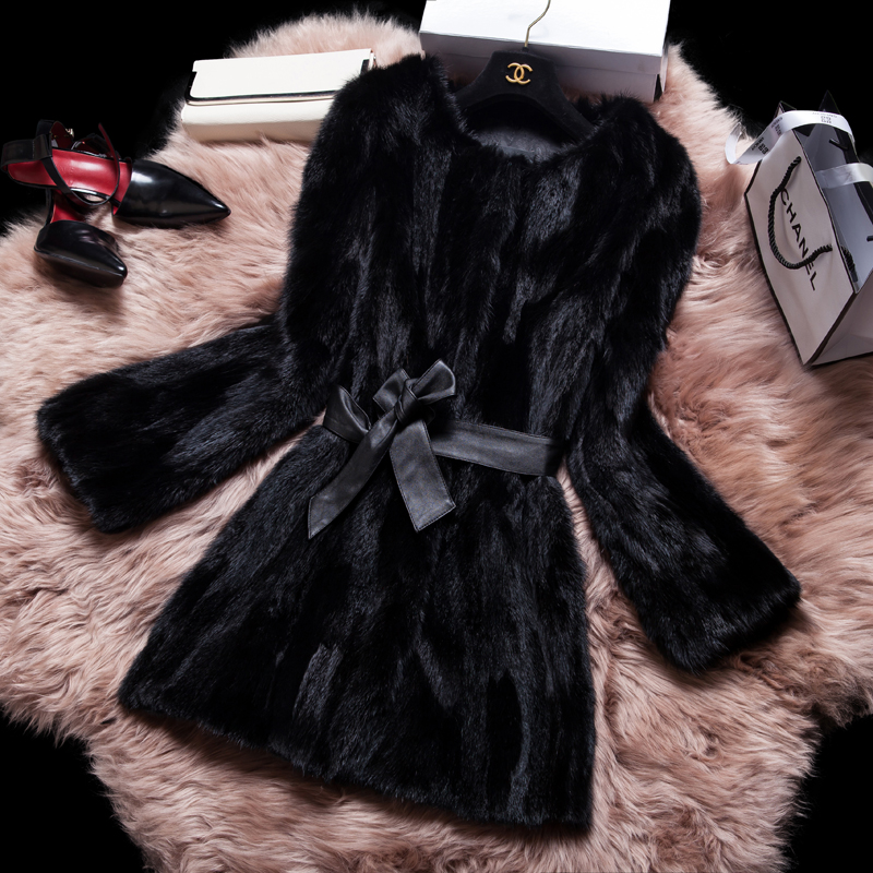 Real Natural Mink Fur Coat Women's Genuine Furs Coats Lady Mink Fur Overcoat Jacket Large Size