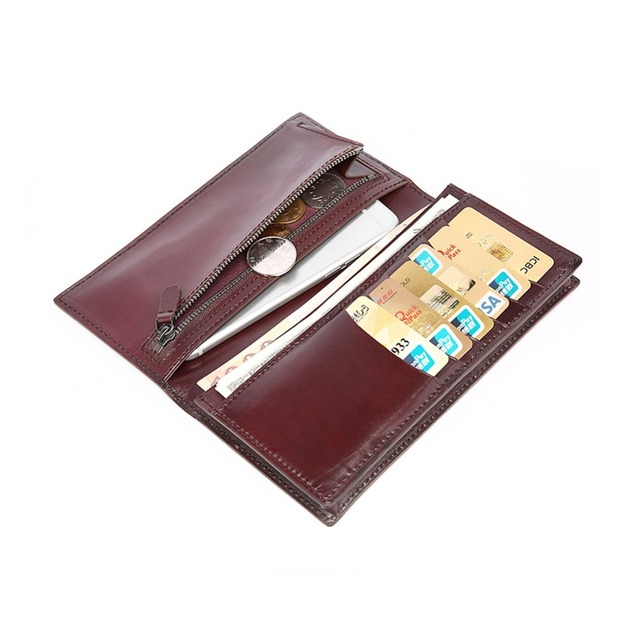 TERSE_Wholesale price long wallet handmade mens purse Italian genuine leather wallet in tobacco custom service factory price