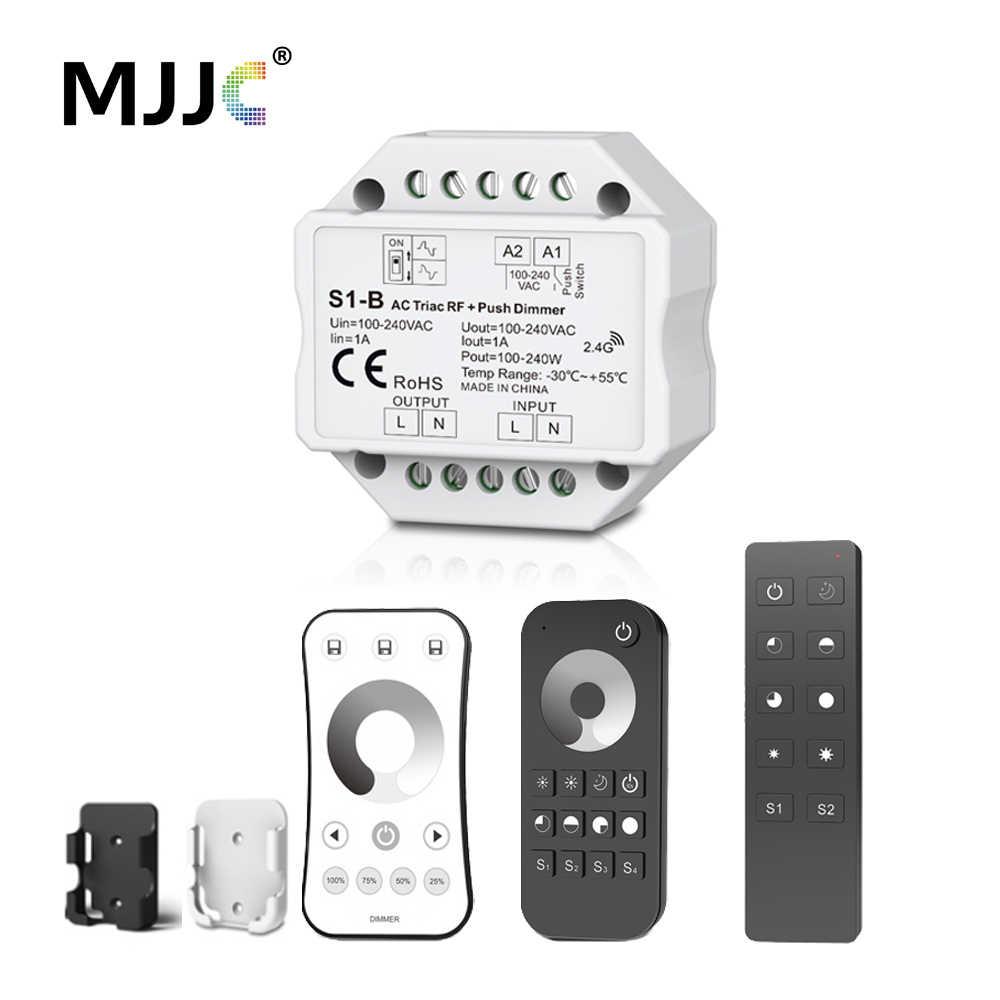 Симистор светодиодный диммер 220V 230V 110V AC Беспроводной РЧ с регулируемой яркостью кнопочный переключатель с 2,4G пульт дистанционного управления для одного Цвет светодиодный лампы