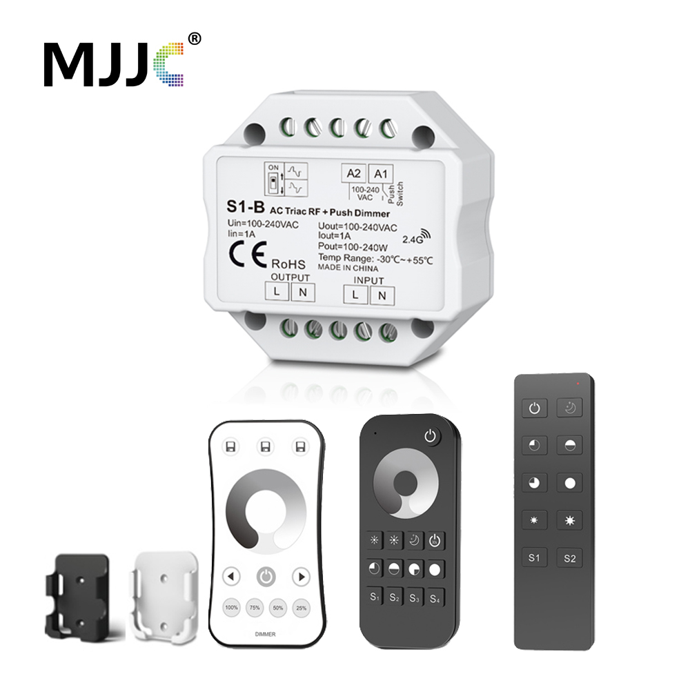 Triac LED Dimmer 220V 230V 110V AC Wireless RF Dimmable Push Switch with 2.4G Remote Controller for Single Color LED Bulb Lamps m3 m4 5a m3 touch rf remote with m4 5a cv receiver led dimmer controller dc5v dc24v input 5a 4ch max 20a output