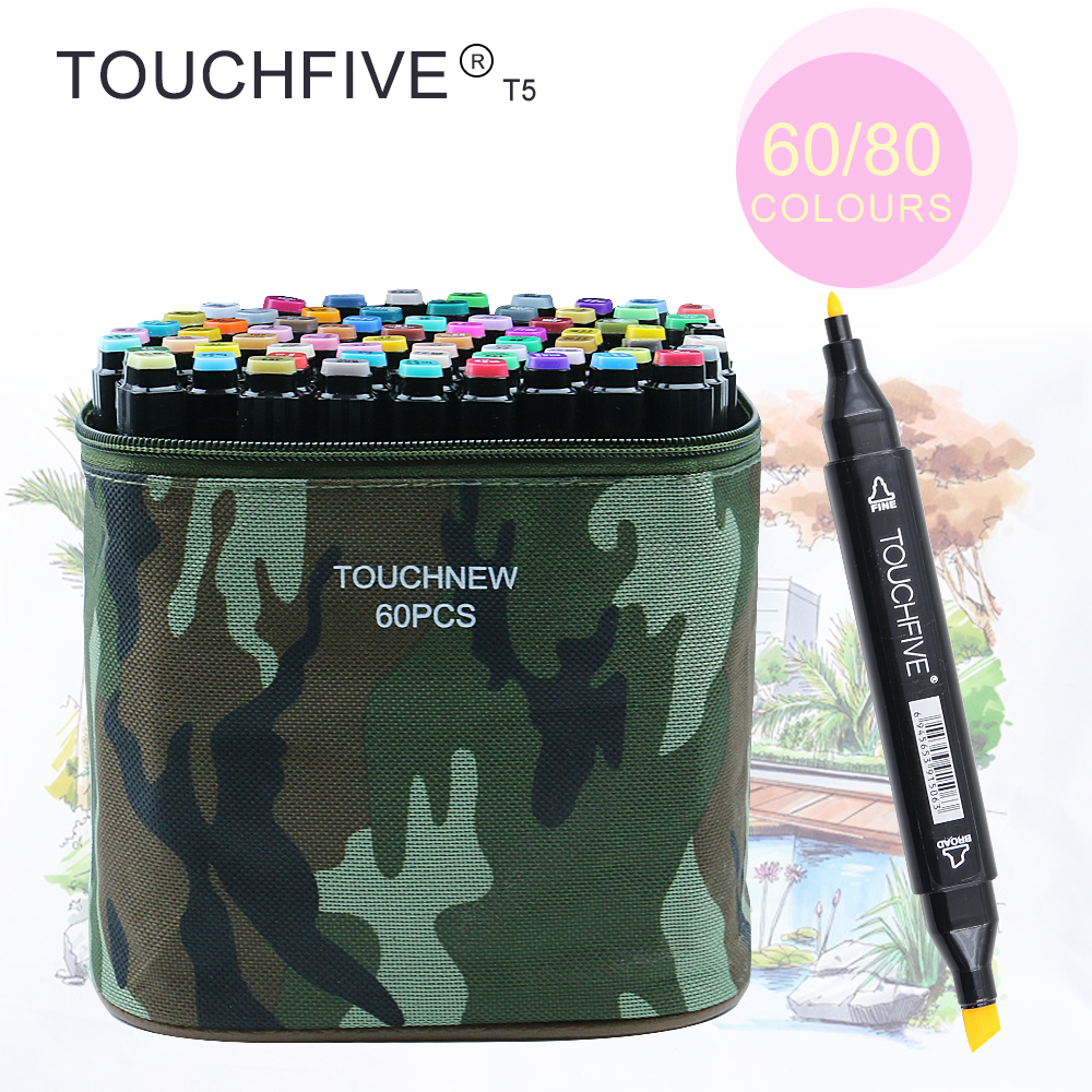 TOUCHFIVE T5S 60/80 colors dual-tip black barrel sketch markers camouflage bag for drawing painting design manga art supplies touchnew 60 colors artist dual head sketch markers for manga marker school drawing marker pen design supplies 5type