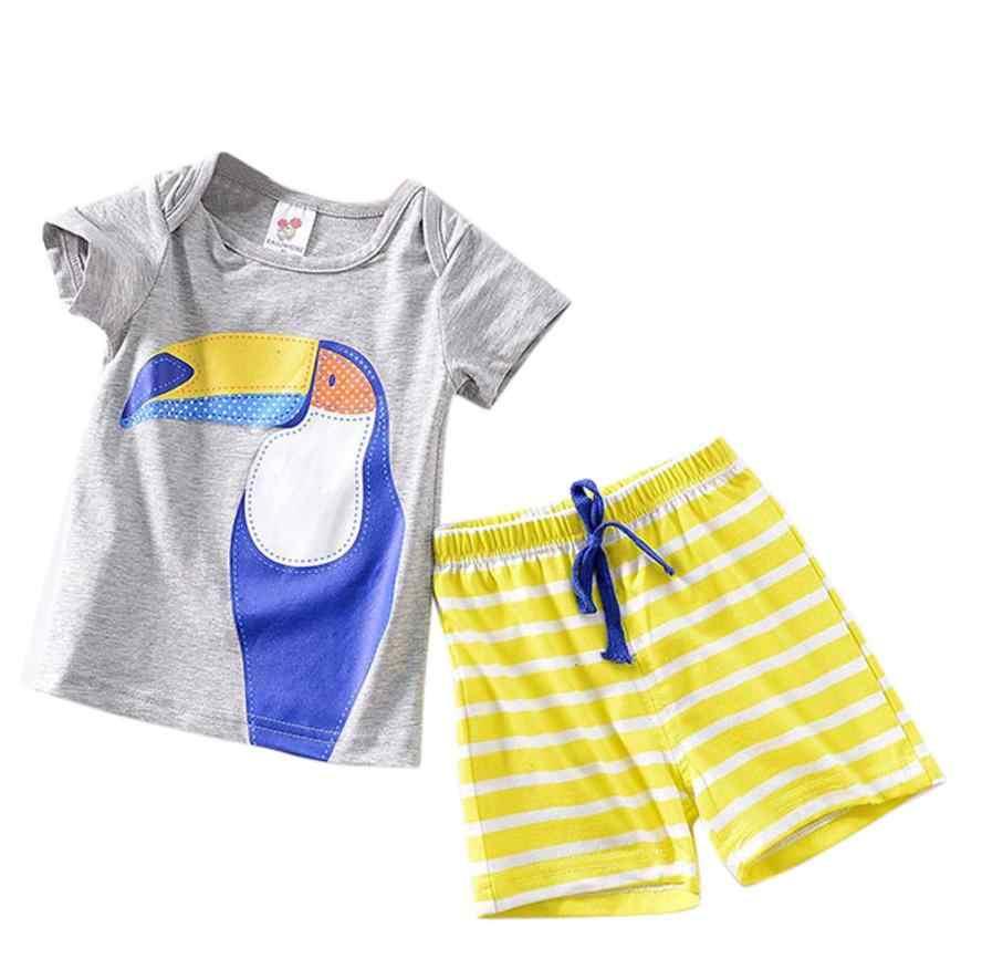 2018 新着新生児幼児ベビー boys 女の子オウムトップスシャツ + パンツ服セットかわいいドロップ配送クール月 8