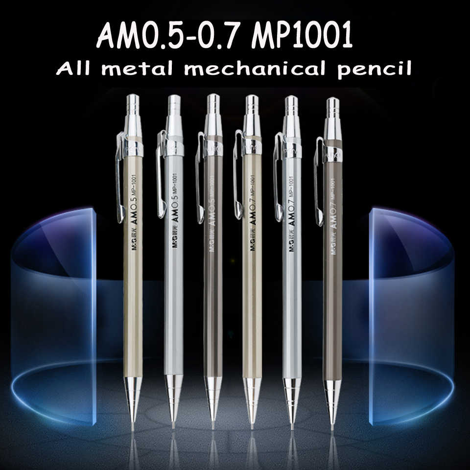 M & g de alta qualidade metal cheio lápis mecânico 0.5mm 0.7mm para desenho profissional e escrita material escolar obter 2 leads livres