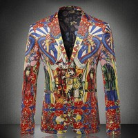 Китайский император печати Fancy вечерние Для мужчин пиджаки Нотч Мода Роман Осень Новый Slim Fit Jaqueta Masculina Досуг Blazer