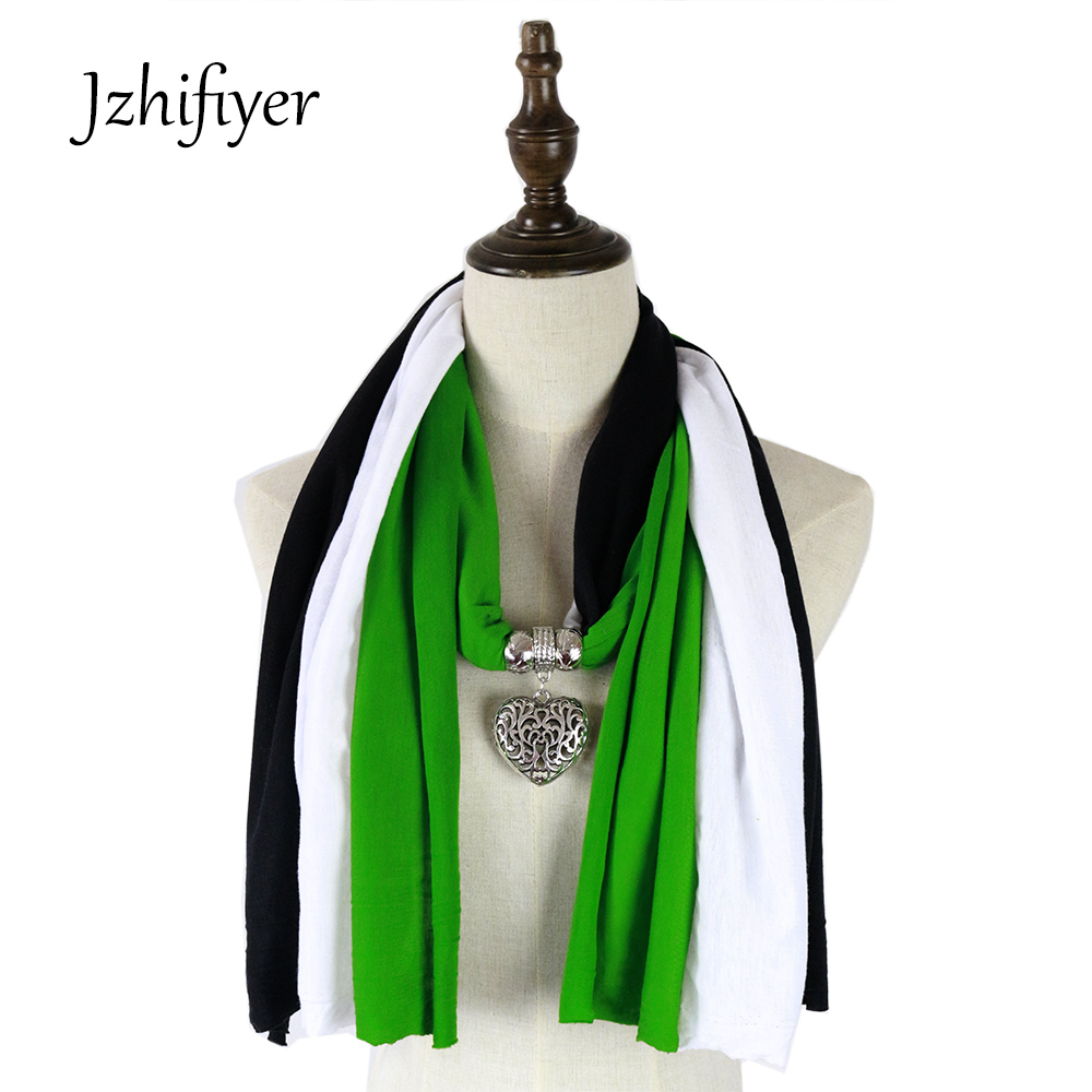scarf mujer fashion jewelry love pendant necklace scarf neckwear shawls echarpe hijabs three color patchwork scarf in Women 39 s Scarves from Apparel Accessories