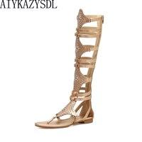 AIYKAZYSDL 2018 Fashoin Ethnic Bohemian Sandals Women Luxury Rivets Studs Punk Knee High Gladiator Gothic Summer