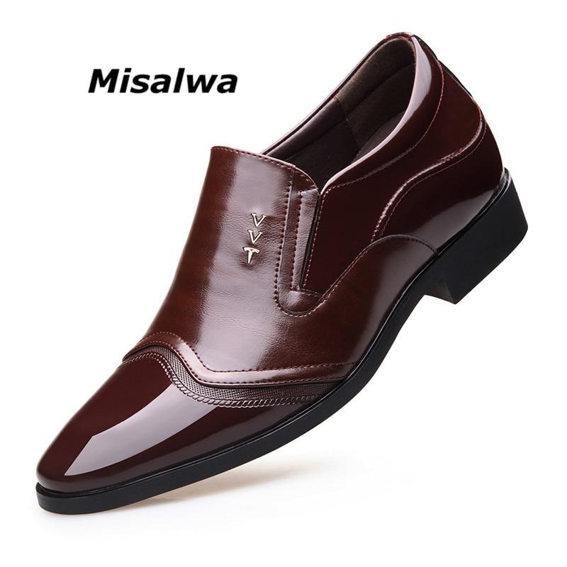 Misalwa 2019 Men Wedding Groomsman Extravagant Elegant Dress Shoes Men Business Elevator Shoes 7 CM Invisible