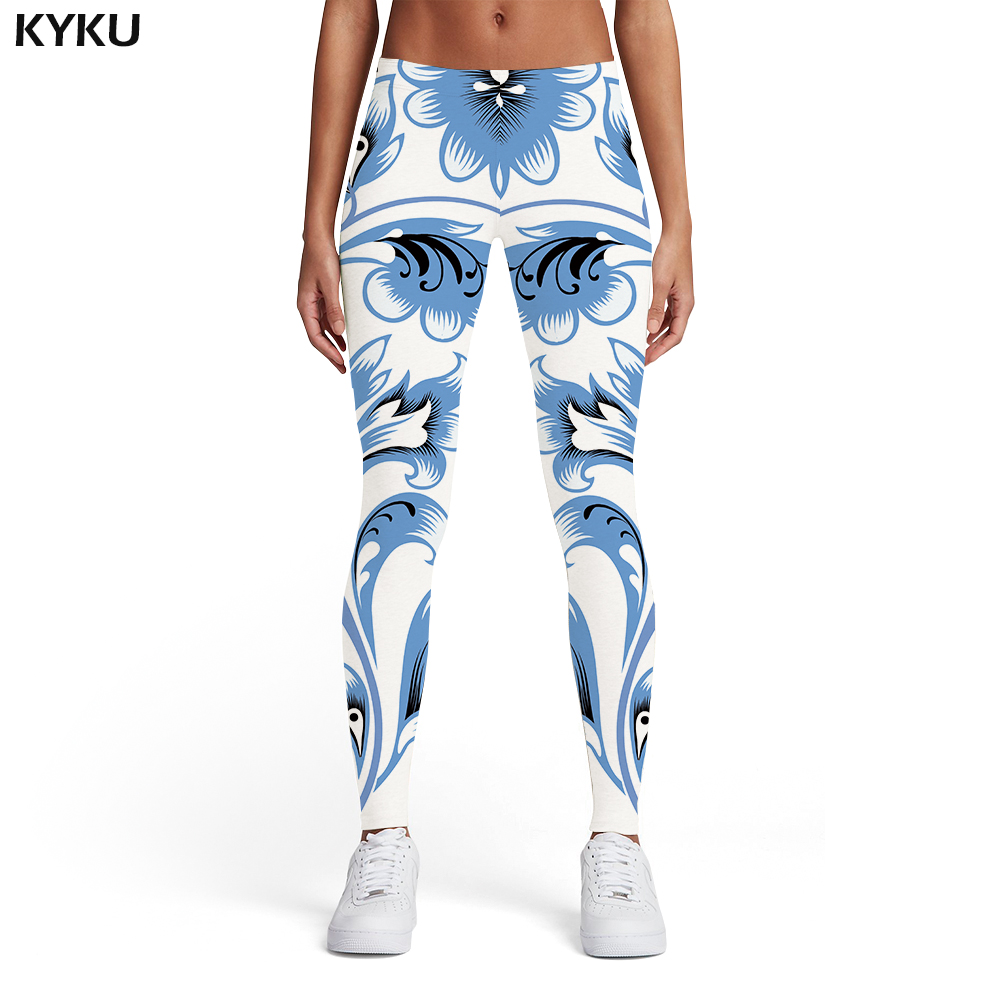 KYKU Brand Flower Leggings Women White Trousers Vintage Elastic Harajuku Printed Pants Art Sport Womens Leggings Pants Fitness