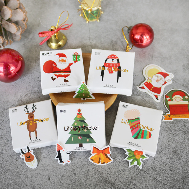 48 Pcs/Pack Christmas Holiday Santa Claus Paper Stickers Diary Scrapbooking Label for Gift Wrapping,Bullet Journal,Day Planner Stationery Stickers