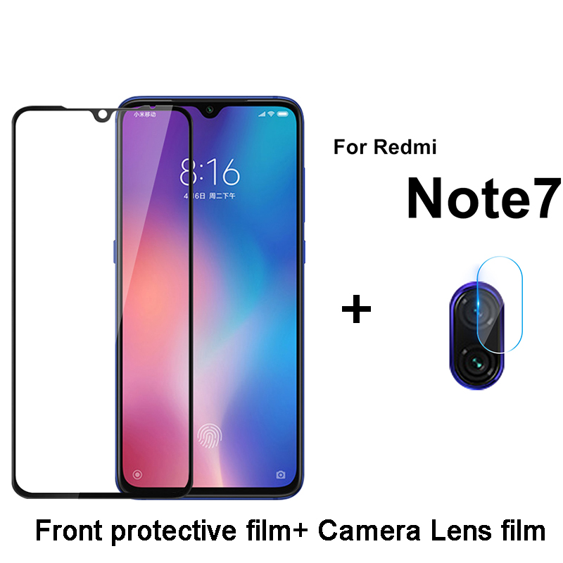 2 In 1 ALL Camera Lens Glass For Redmi Note 7 Full Cover Tempered Glass Screen Protector For Xiaomi Redmi Note 7 Protective