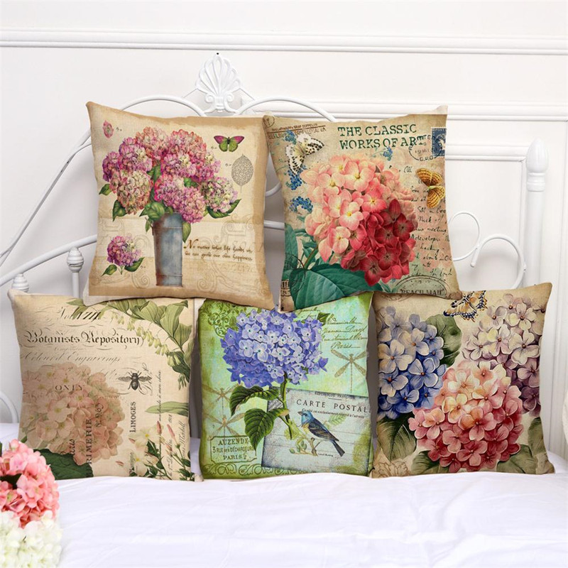 Maiyubo Modern Floral Printed Cushion Cover Colorful Cartoon Flower Decorative Sofa Pillow Case Fashion Home Decor 45*45cm PC118